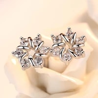 2021 france new style silver plated aaa zircon flower earrings exquisite charm women wedding engagement anniversary jewelry