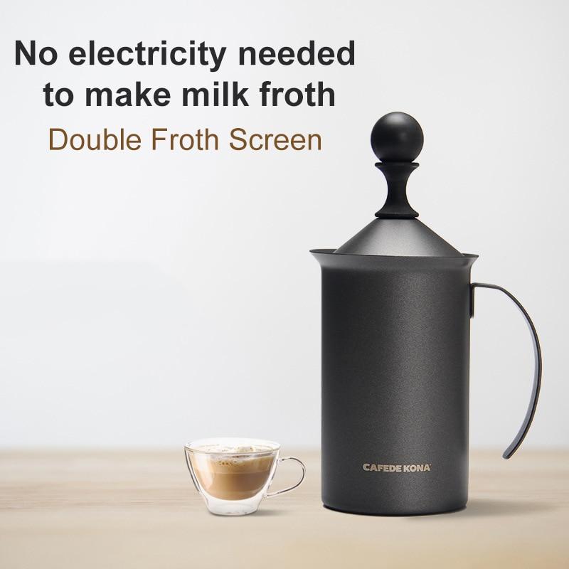 CAFEDEKON حليب يدوي فروثر 200CC / 300CC مزدوج فروث شاشة دسم مزبد الحليب لالكابتشينو بياض مسطح بسهولة في المنزل
