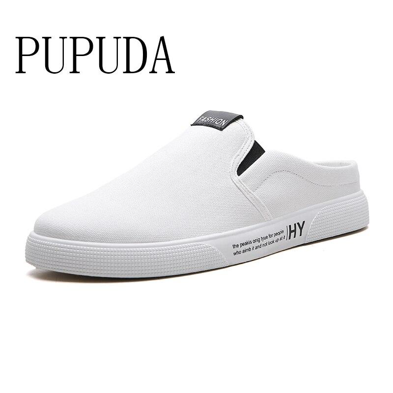 PUPUDA حذاء قماش الشباب الرجال الصيف نصف النعال تنفس الرجال حذاء كاجوال موضة الاتجاه أحذية للمشي الذكور أحذية رياضية الرجال