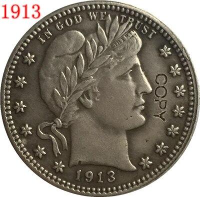 USA 1913 P, D, S BARBER o LIBERTY HEAD cuarto de dólar copia monedas