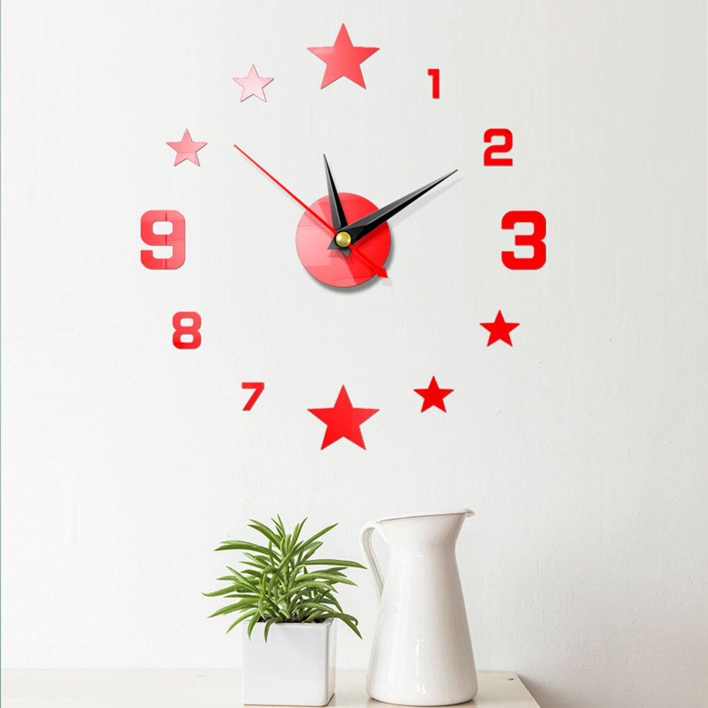 39x41cm diy 3d criativo relógio de parede acrílico espelho grande wallclock decoração para casa sala estar decoração casa relógio de parede