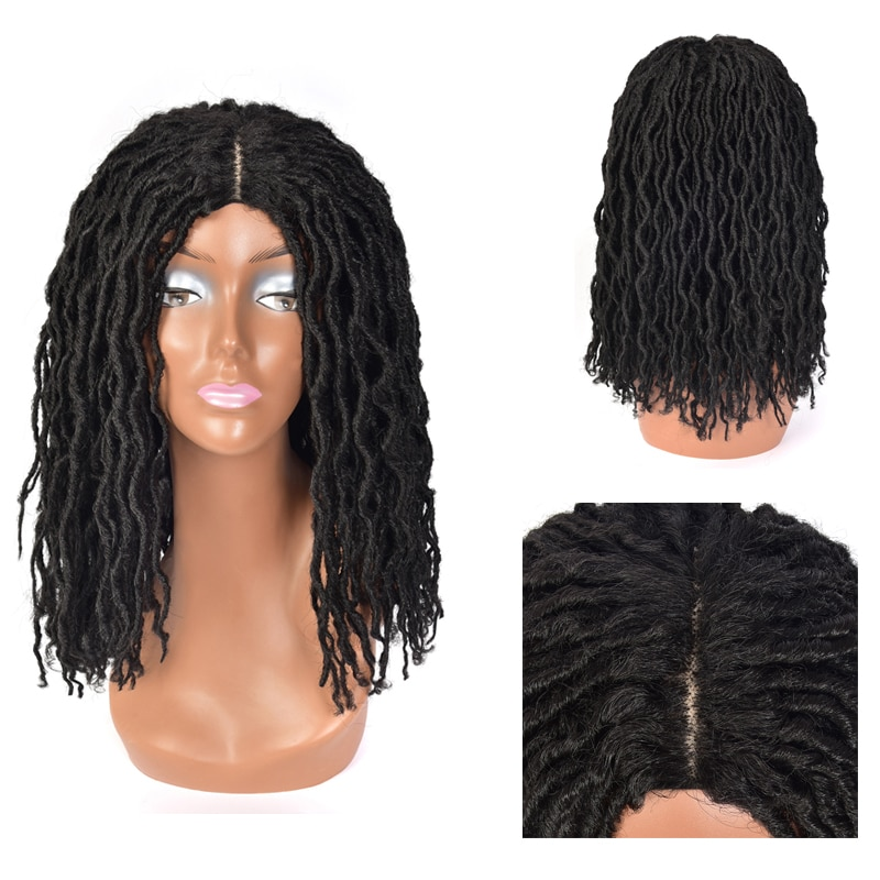 Dreadlock الكروشيه تويست الشعر الباروكات لينة قصيرة نطاط مجعد الاصطناعية الباروكات للنساء السود الاصطناعية آلهة Locs جديلة الباروكات
