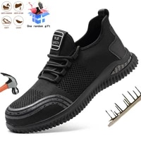 lightweight men safety boots anti puncture anti puncture steel toe cap work boots comfort breathable non slip footwear sneakers