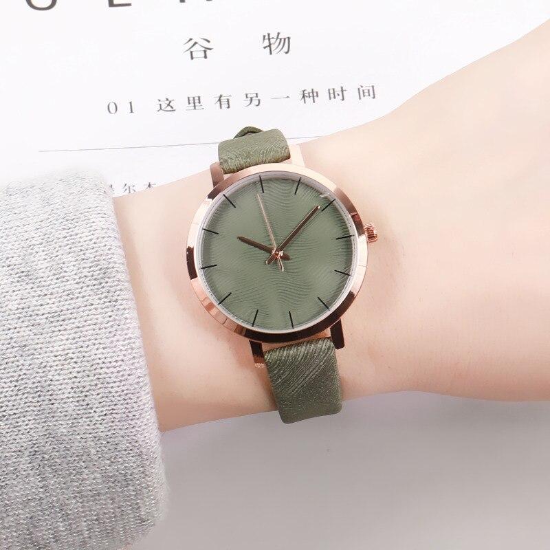 Reloj de pulsera para mujer, moderno, informal, Retro verde, de cuero, de diseñador, sencillo, para mujer