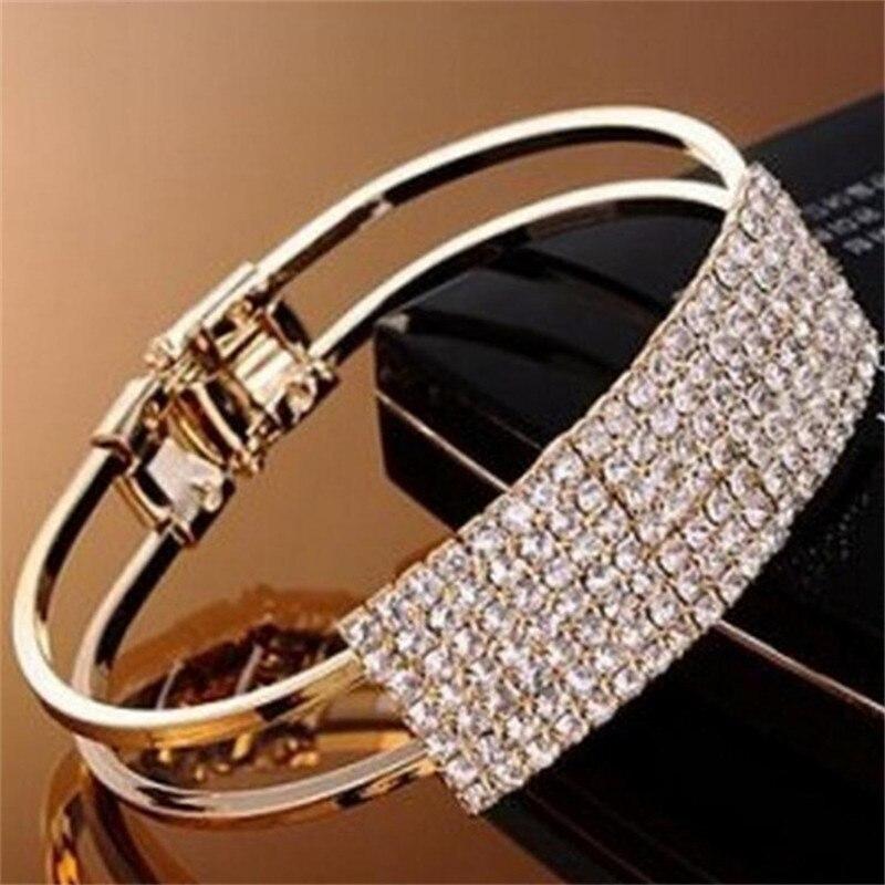 Pulsera geométrica Simple a la moda para mujer, pulsera encantadora de oro CZ, accesorios de joyería, regalo para fiesta de mujer