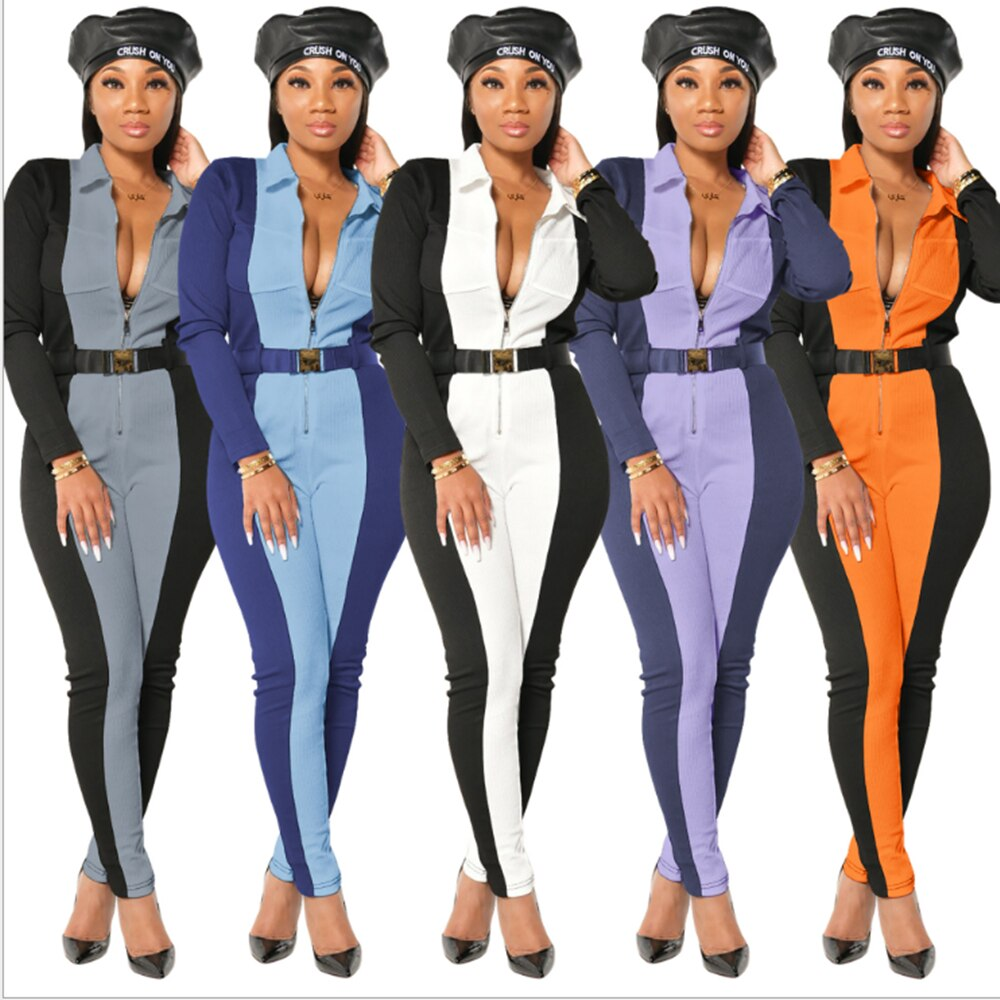 RT Women Ribbed Jumpsuits Turn Down Collar Zippers Rib Bodysuit Print Raised Lines Pattern Casual Outdoor Wear inclined zipper fly rib spliced turn down collar slimming flocked sweatshirt for men