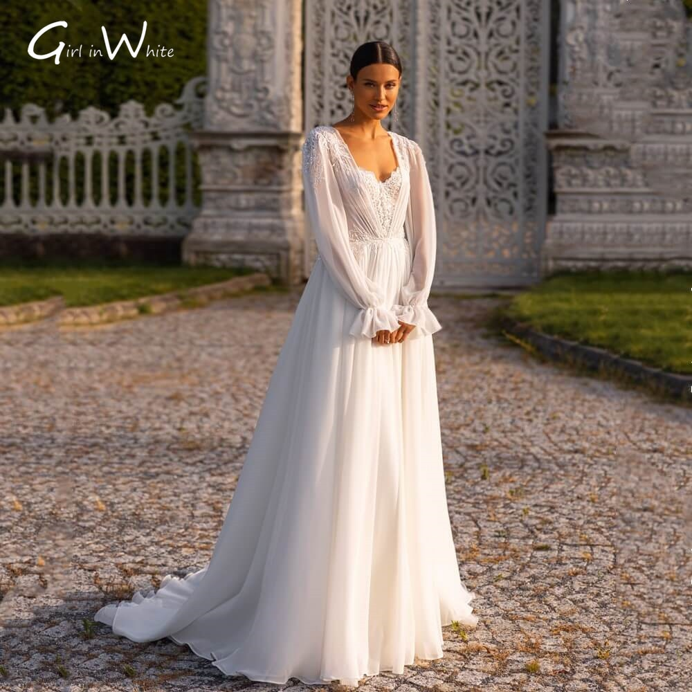 Review Plus Size Modest Sequins Lace Wedding Dresses Full Sleeves Bridal Gowns Sweetheart Bride to Be Autumn Wedding  robe de mariée