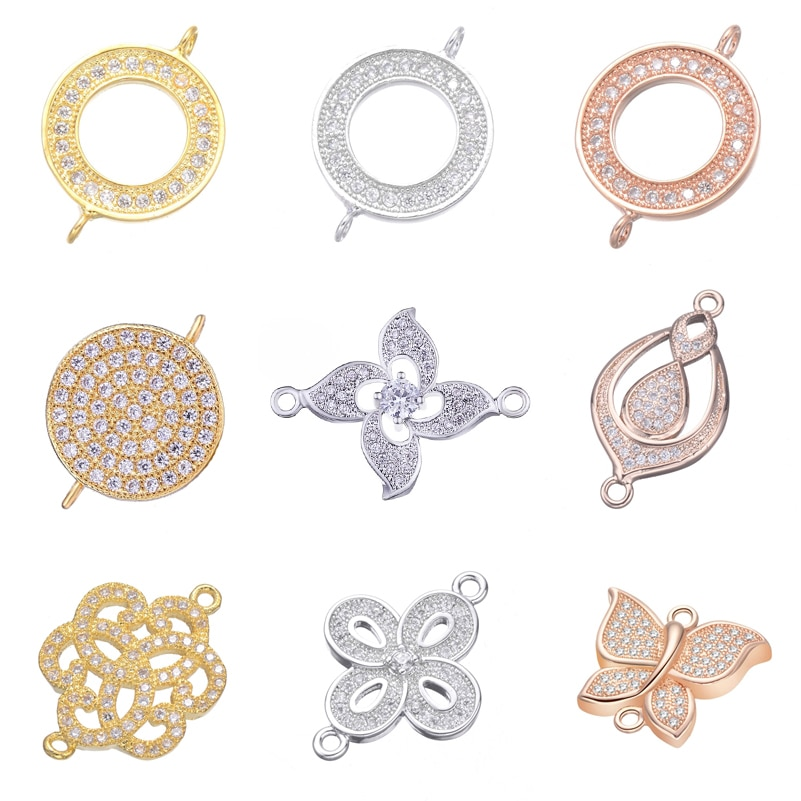 Juya DIY Earrings Supplies For Jewelry Making Paved Zircon Circle Infinity Metal Connector Charms Br