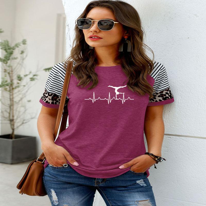 Gimnasia latido mujeres camiseta diseño Casual T camisa de moda de mangas en tela combinada señora chica Tee Superior 6 colores de la nave de la gota
