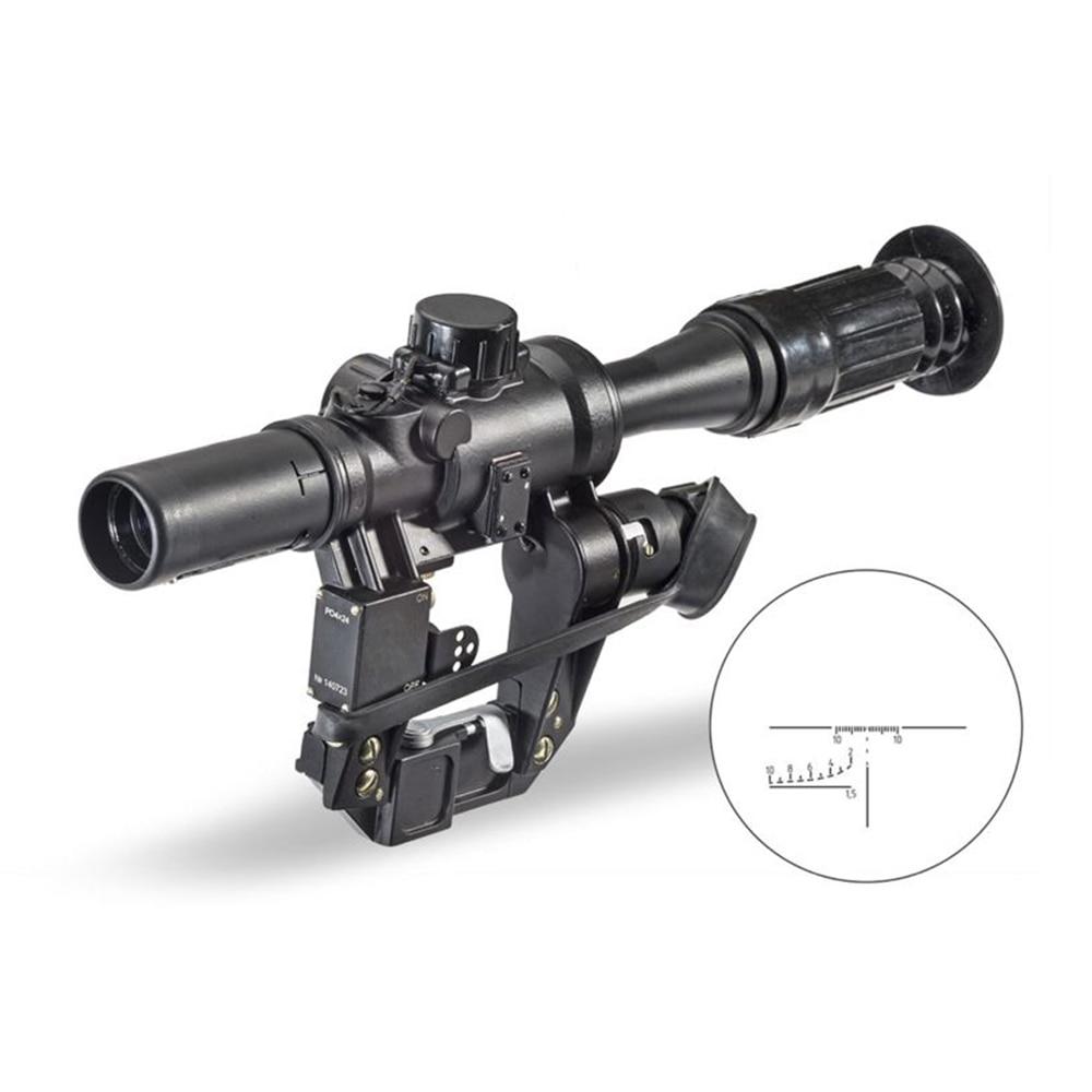 PO 4X24 Kalashnikov abrazadera caza Rfile Scope Old School mira óptica retícula nocturna AK serie Aim Accesorios
