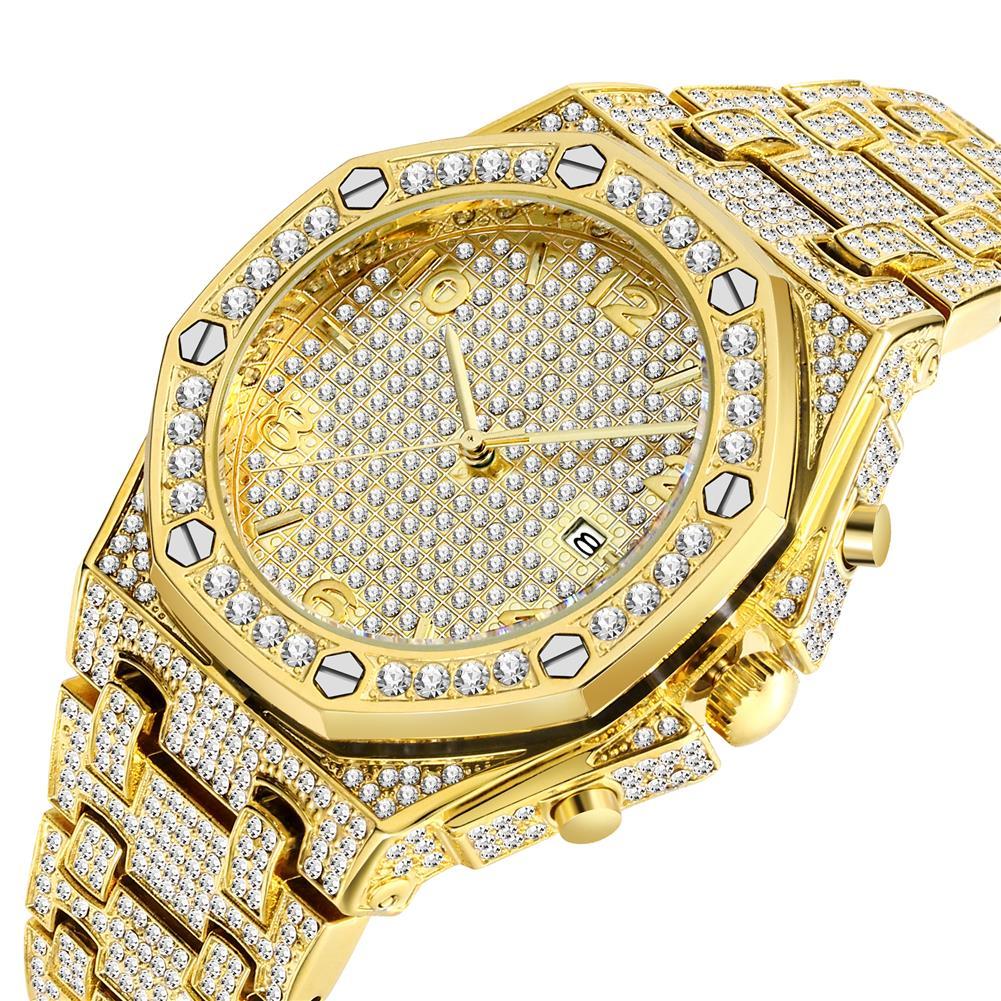 ساعات رجالي 18k الذهب الكوارتز مثلج خارج رجالي ساعة كرونوغراف العلامة التجارية الفاخرة مشاهدة الرجال تتجه فريدة من نوعها FF العربية ساعة ماسية