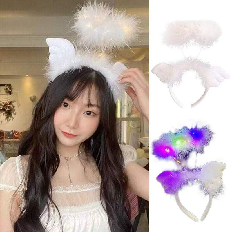 Фото - Halloween Hair Hoop Glowing Feather Headband Stage Performance Headdress Angel Wing Headband Cosplay Hair Accessories wight angel halloween