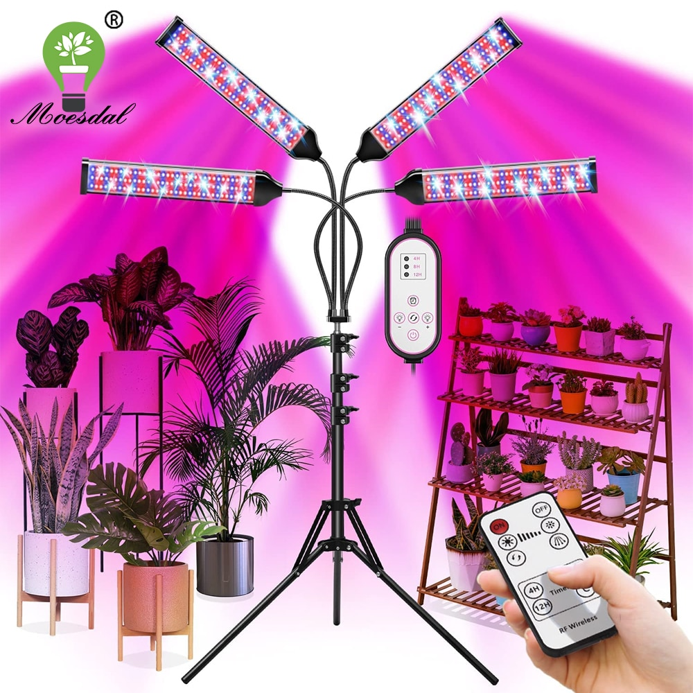 LED Plant Growth Light Retractable Tripod 4 Heads Full Spectrum with Dual Controllers Timing Greenhouse Vegetables and Flowers
