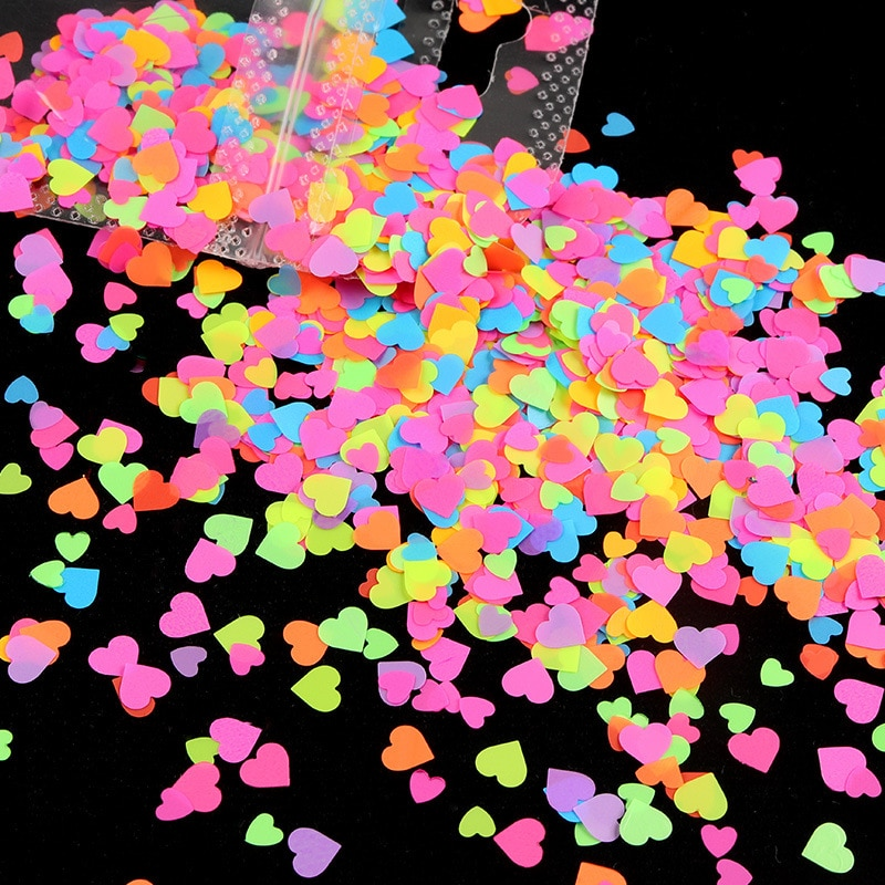 New Heart Shape Nail Sequins 3D Mix Color Manicure Decor Neon Fluorescence Flakes Slice Polish Nail Glitter Nail Accessories