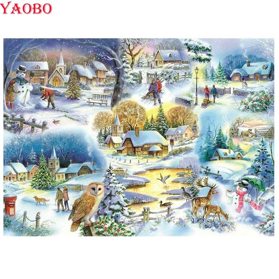 Diamante pintura completa/cuadrado/Ronda 5D DIY invierno nieve diamante bordado cuadro de diamantes de imitación Cruz puntada regalo de Navidad
