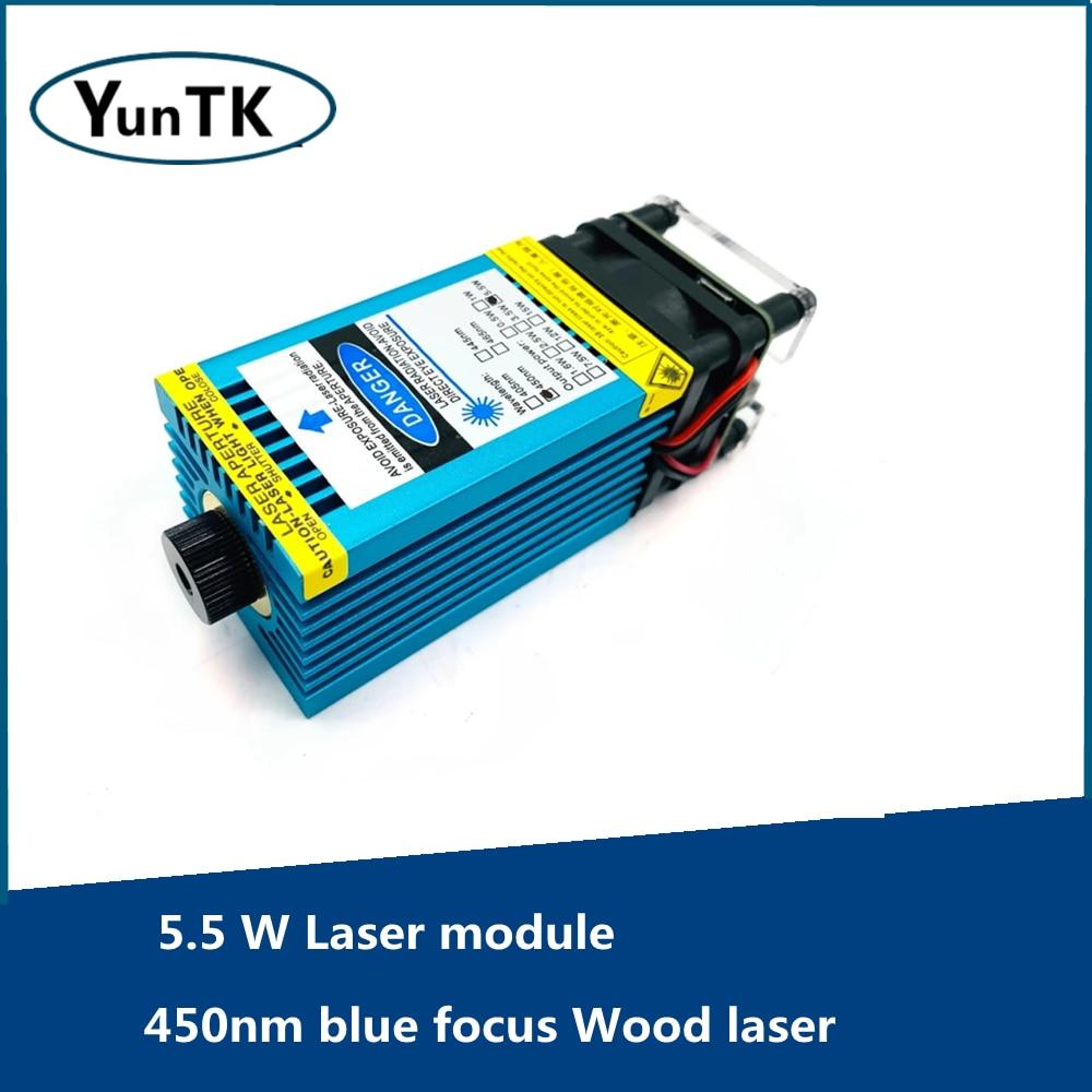 Лазерный модуль 5,5 Вт, Синий Фокус нм, модуль TTL для лазерной резки и гравировки по дереву
