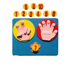 Jouets mathématiques pour enfants, comptage du doigt 1-10, aide pédagogique en feutre Montessori, aide pédagogique, artisanat, jouets éducatifs pour tout-petits