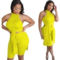causal women tracksuit biker two piece set solid color sleeveless bandage halter summer clothes for women outfit