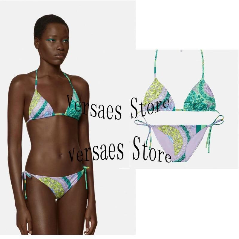21 luxury design retro printing fashion women's bikini suit sexy lace up suspender underwear + high waist briefs split swimsuit