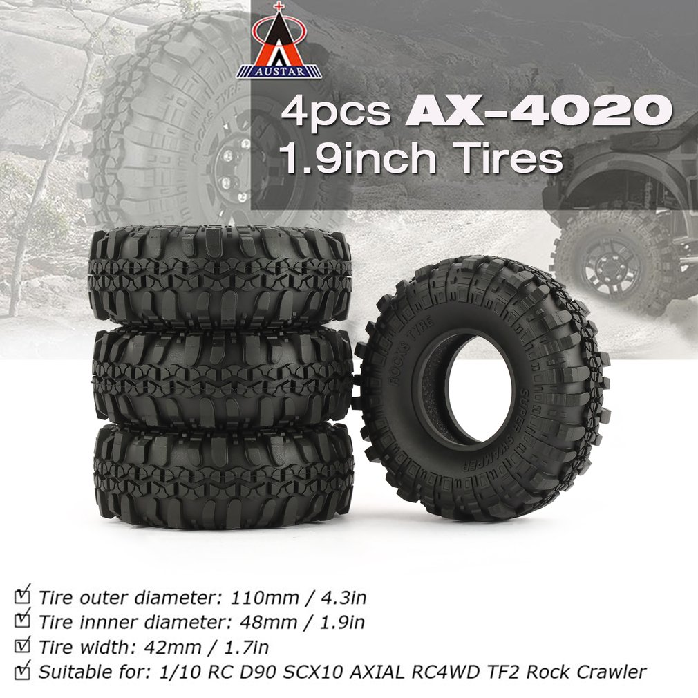 4 Pcs AUSTAR AX-4020 1.9 Inch 110mm Rubber 1/10 Rock Crawler Tires Tyre Part for D90 SCX10 AXIAL RC4