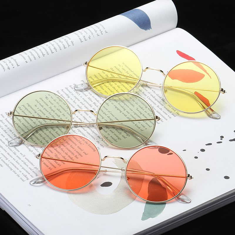Summer New Sunglases Round Novelty Sunglasses Women Hip Hop Style Color Lenses Retro Glasses Summer