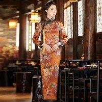 xiyue autumn and winter 2020 new silk elastic jacquard satin medium length improved banquet dress cheongsam dress
