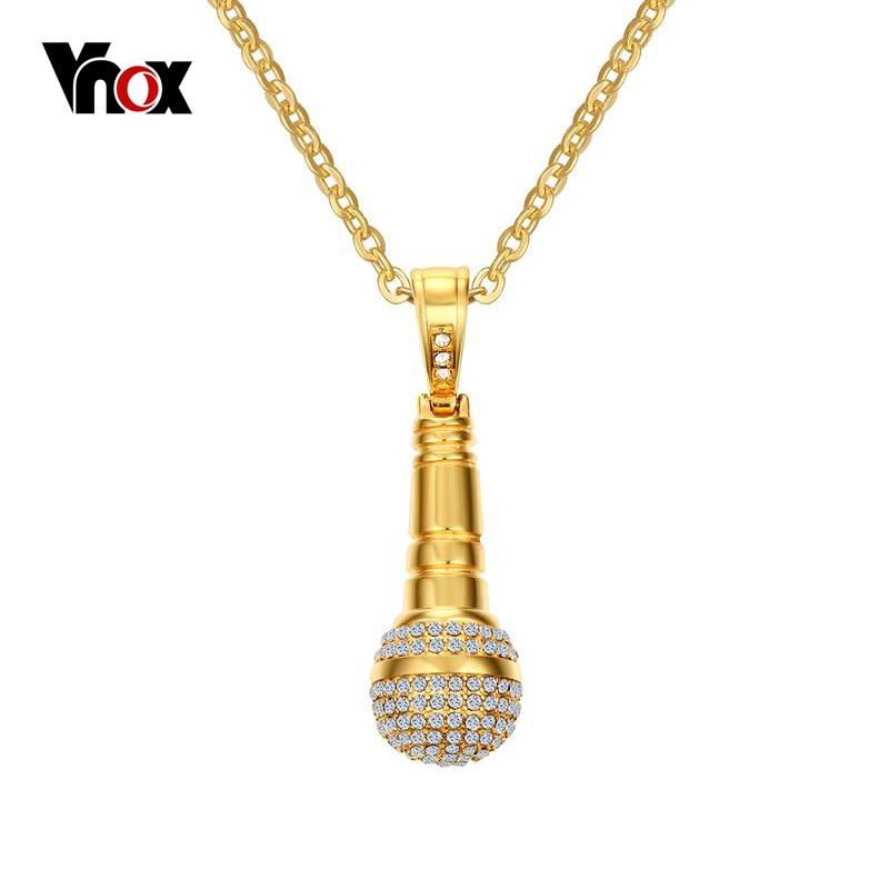 Collar y colgante de micrófono Vnox Rock Punk para hombre/mujer de acero inoxidable color dorado CZ Stone Hip Hop
