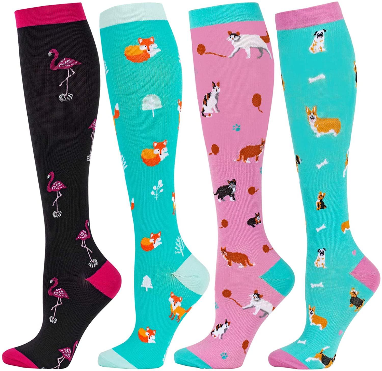 Compression Socks Sports Cycling Socks Happy Long Socks Knee High Best for Anti Fatigue Pain Relief Knee High Men Women Socks