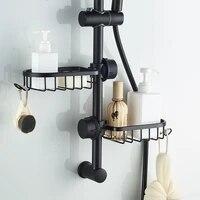 Etagere en aluminium monocouche pour salle de bain  rangement pour shampoing  savon  douche  organisateur avec crochets
