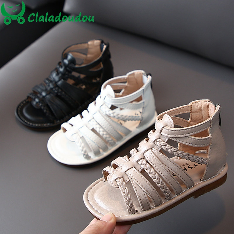 14-19cm couro genuíno tricô meninas sandálias cinta zip preto meninas gladiador moda sapatos casuais princesa tece sapatos