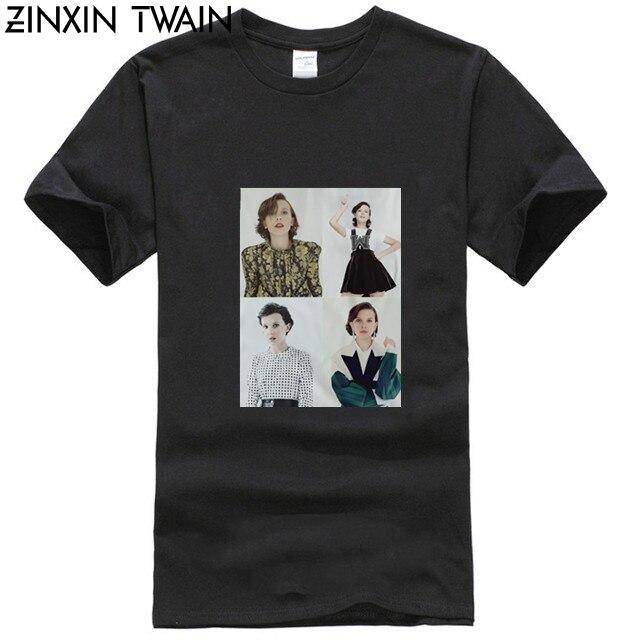 Camiseta con Collage de Millie Bobby, color marrón, once, millie, bobbie, marrón, gaten, matarazzo, mike Wheel, finn, wolfhard