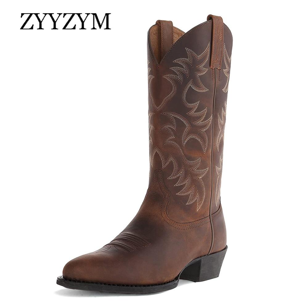 ZYYZYM-أحذية رعاة البقر للرجال ذات الكعب العالي ، والأحذية الغربية ، وخريف وشتاء 2020 ، مع أنبوب مركزي في أوروبا وأمريكا الشمالية