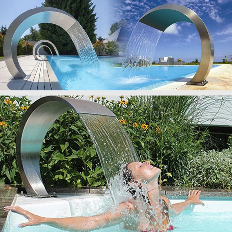Havuz şelale 60x30x45.5cm paslanmaz çelik havuz su çeşmesi gölet bahçe yüzme havuzu özelliği dekoratif donanım musluk