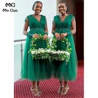 african junior bridesmaid dresses long with appliques beaded tank tulle tea length wedding party dress bridesmaid dress