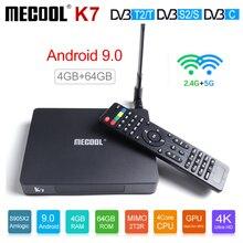 MECOOL K7 Smart TV Box Android 9.0 DVB-T2/S2/C Amlogic S905X2 Quad Core 4GB DDR4 64GB 4K 60fps 2.4G 5G WIFI 1000Mbps décodeur