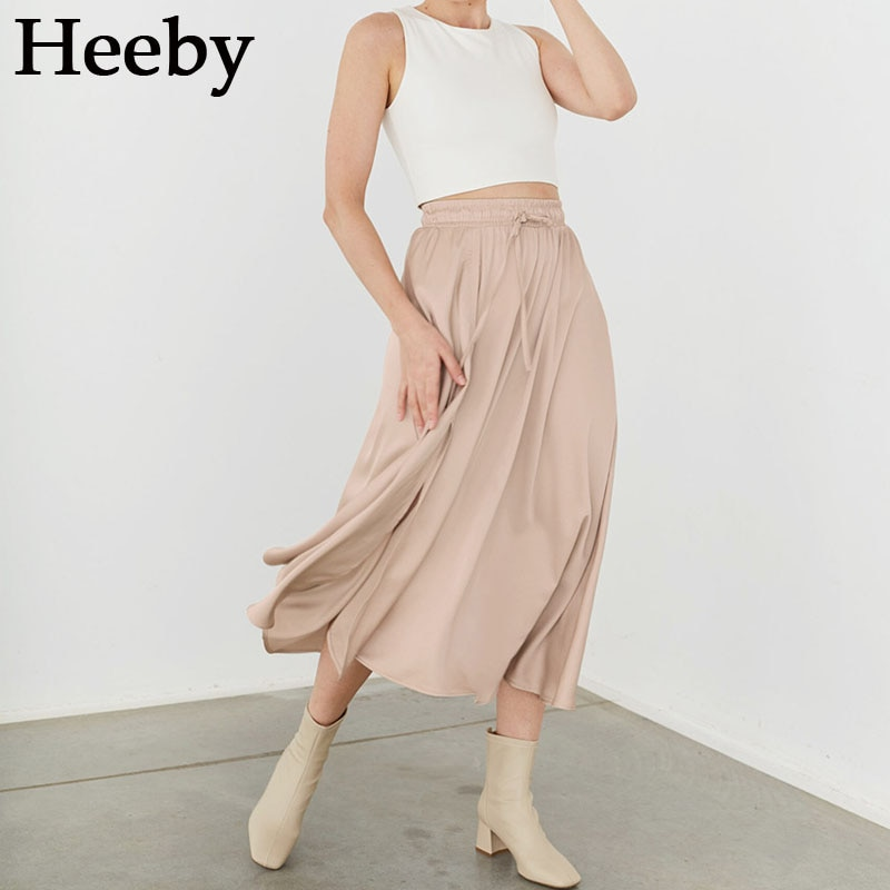 elegant high waisted solid color midi skirt for women Autumn New Long Skirts For Women Solid Lace-up High Split Pleated Skirt Elegant Vintage Casual Fashion Midi Skirt
