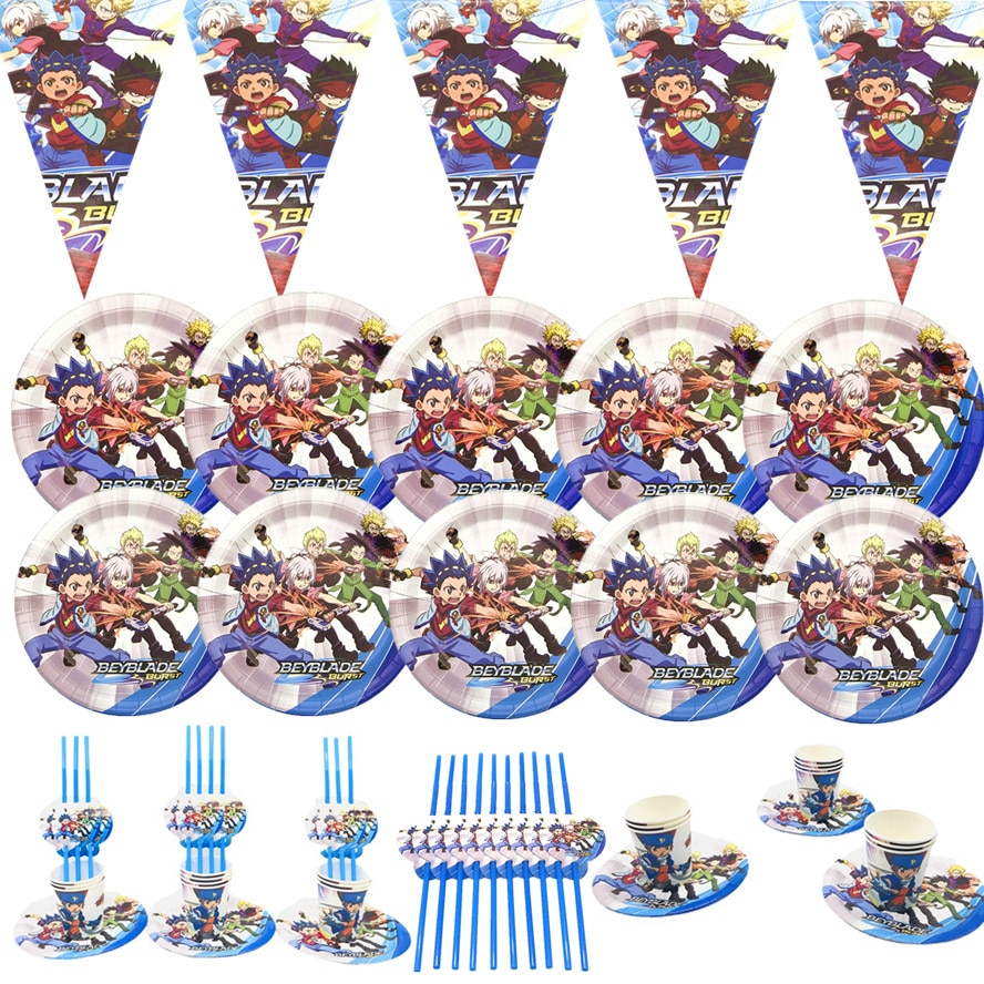 Beyblade Party Tableware Sets Paper Cups Plate Cartoon Happy Birthday Party Favors Kids Birthday Parties Decorations Baby Shower