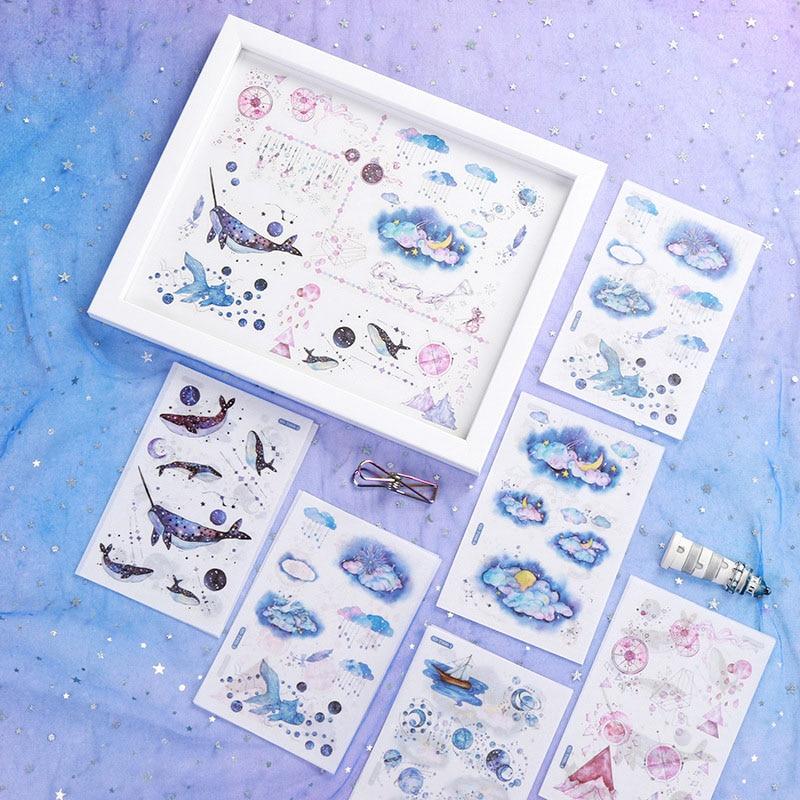 6 листов наклейка с милым рисунком кавайные канцелярские принадлежности с китами наклейка бумажная клейкая наклейка для детей DIY Скрапбукинг принадлежности для альбома