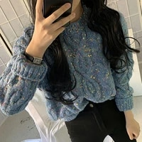 womens sweater knitted 2021 autumn harajuku thicken twist loose pullovers korean style long sleeve o neck jumper women