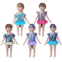 18 inch girls doll swimsuit a shiny bathing suit dress american newborn skirt baby toys fit 43 cm baby dolls c883