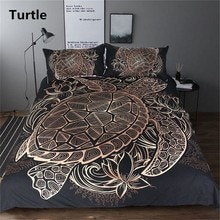 Goud Zwart Schildpad Beddengoed 2/3 Stuk Zee Schildpad Dekbedovertrek Set Kussensloop Lotus Afdrukken Bed Cover Volwassen Sprei Mandala