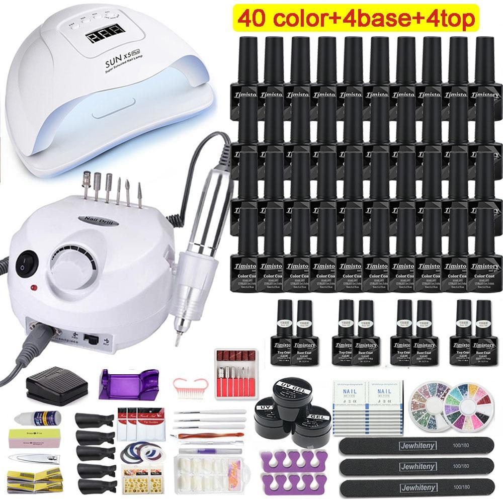 Manicure Set With 120W/80W/54W Led Nail Lamp Nail Set 35000RPM Nail drill Machine 40 Color UV Gel Nail Polish Kit Tools Set