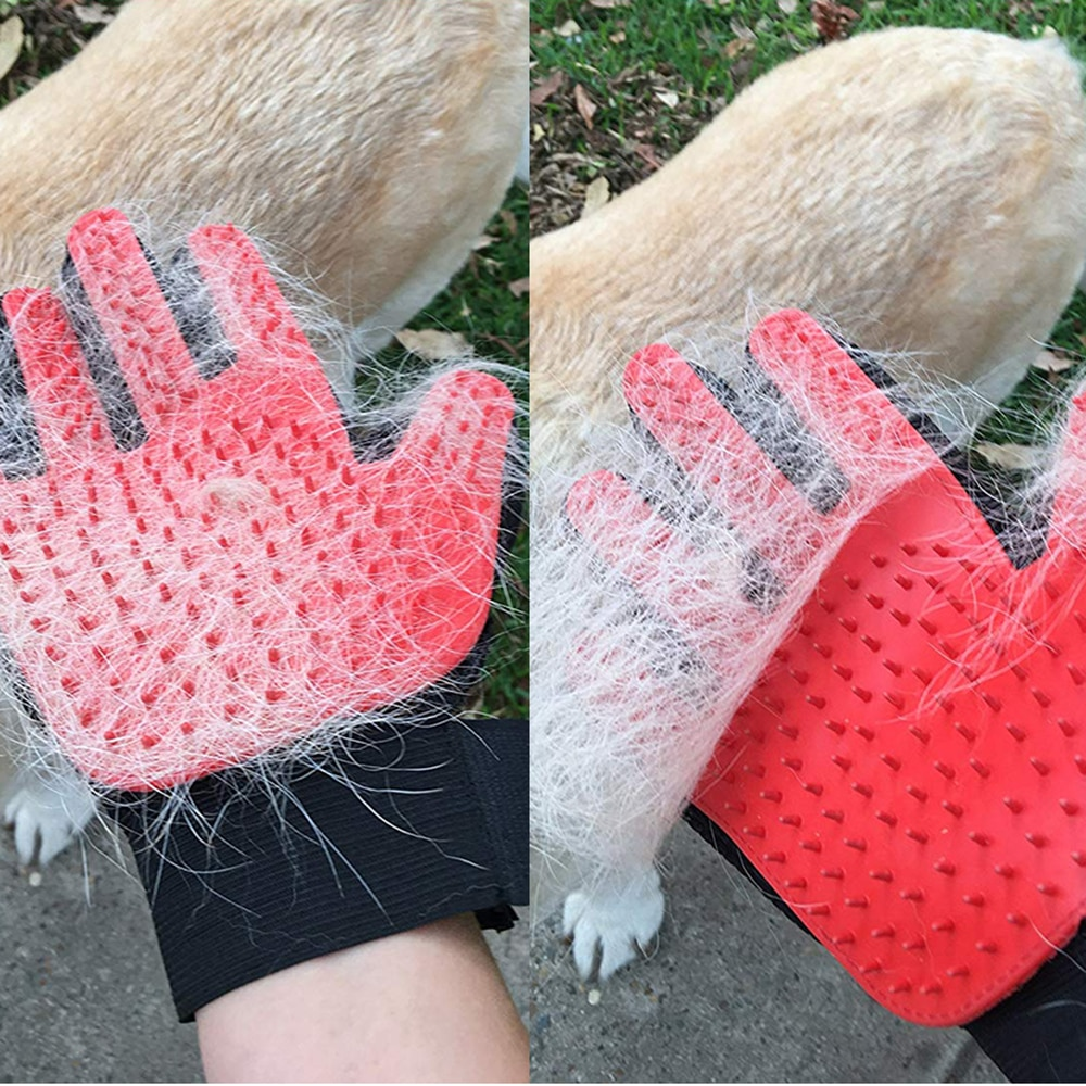 Aseo para mascotas, perros y gatos guante de lana cepillo para el cabello para mascota guante de Peine cachorro gatito masaje de limpieza guante de eliminación de pelo guante de piel