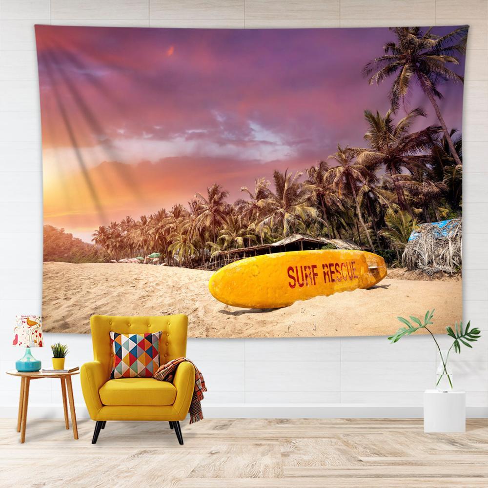 Praia do mar cenário tapeçaria parede pendurado palmeira prancha padrão sala de estar quarto dormitório decoração verão tapeçaria cobertor