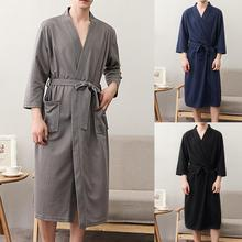 Men Bathrobe Solid Color V Neck Cardigan Water Absorption Oversize Male Pajamas for Home