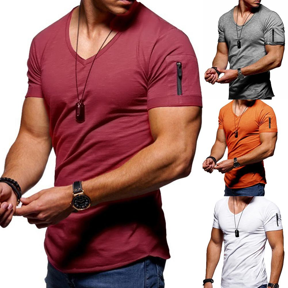 Мужская Однотонная футболка с молнией, v-образным вырезом и коротким рукавом размера плюс, 5xl