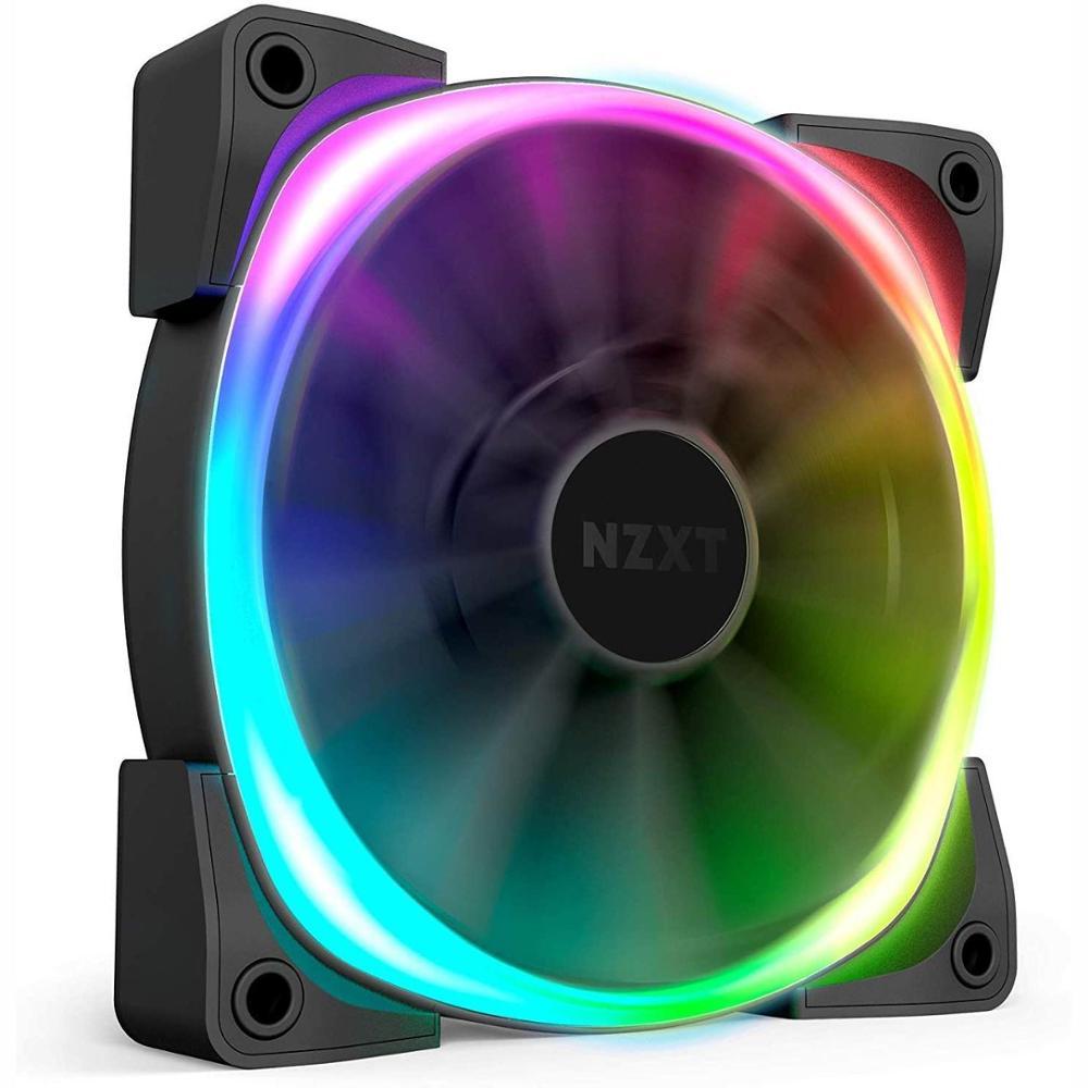 NZXT AER RGB 2-120mm, personalizaciones de iluminación avanzada, puntas de Winglet, rodamiento Dinámico Fluido, ventilador LED RGB PWM para Hue 2