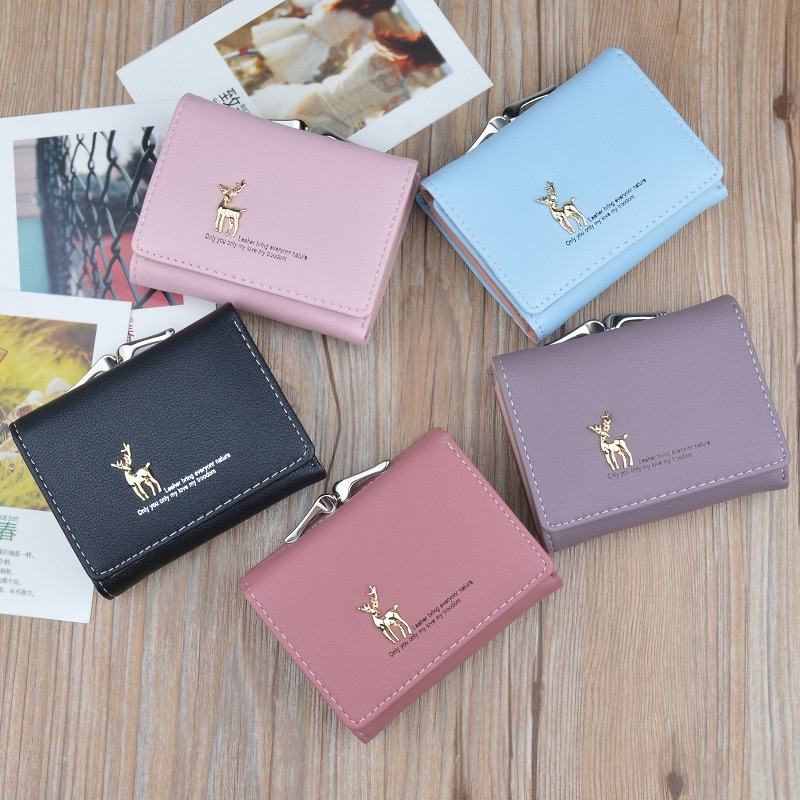 Cute Wallets Leather Women Wallets Fashion Short Wallet Student Coin Purse Card Holder Ladies Clutch Bag Small Deer Female Purse