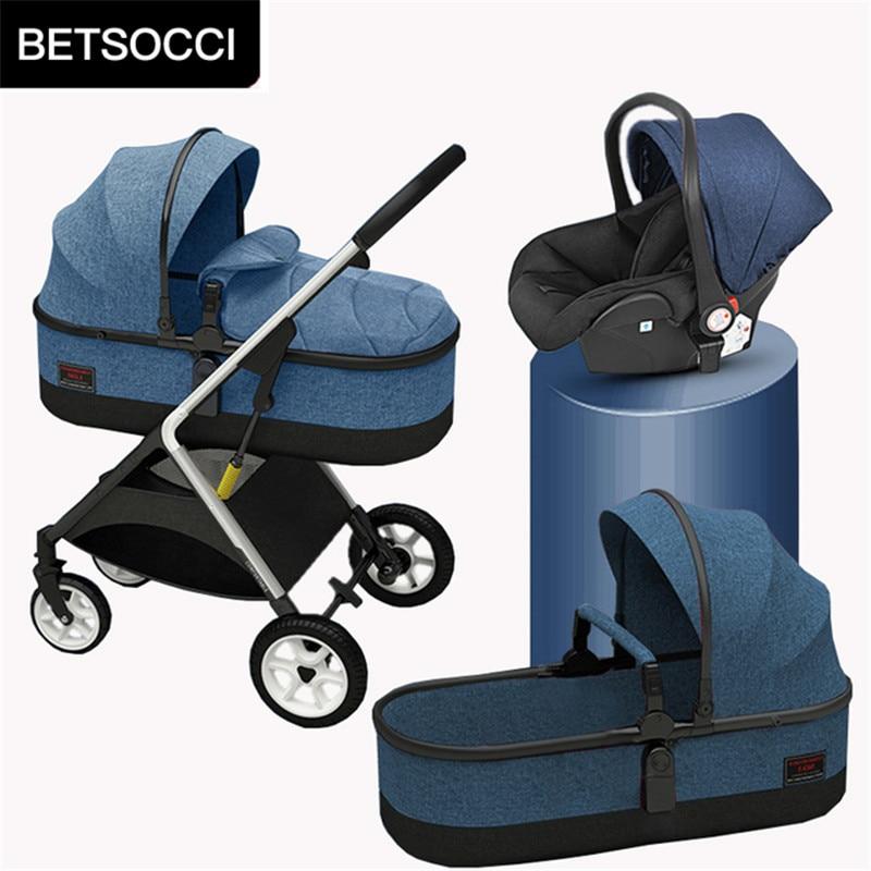 عربة أطفال BETSOCCI عربة بأربع عجلات 2 في 1/ 3 في 1 عربة محمولة قابلة للطي ذات مناظر طبيعية عالية عربة أطفال في اتجاهين