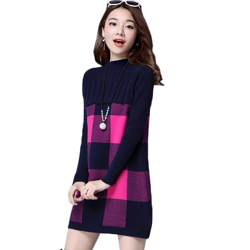 New Women Sweater Dress New Autumn Winter Pullover Half-Neck Cashmere Sweater Plus Size Loose Knit Sweater Mini Dress Women K782